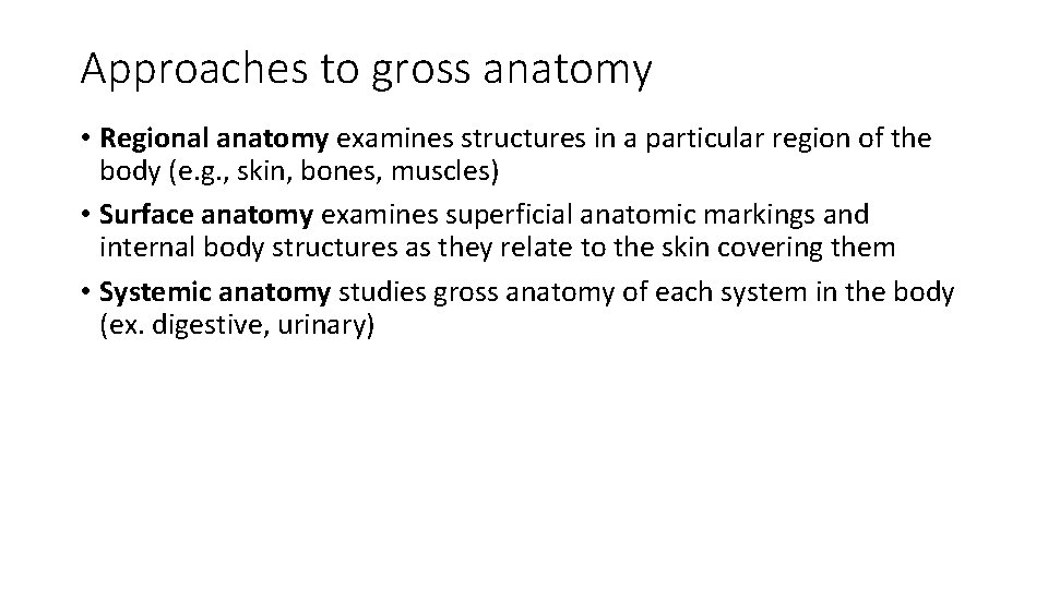 Approaches to gross anatomy • Regional anatomy examines structures in a particular region of