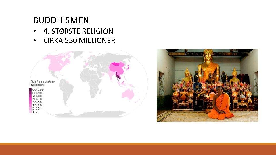 BUDDHISMEN • 4. STØRSTE RELIGION • CIRKA 550 MILLIONER