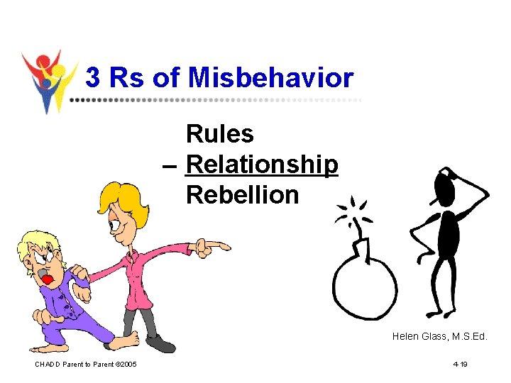 3 Rs of Misbehavior Rules – Relationship Rebellion Helen Glass, M. S. Ed. CHADD