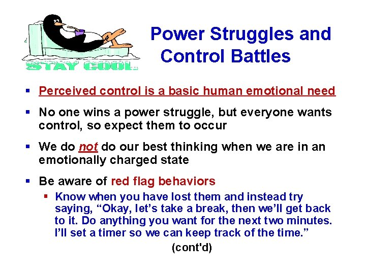 Power Struggles and Control Battles § Perceived control is a basic human emotional need