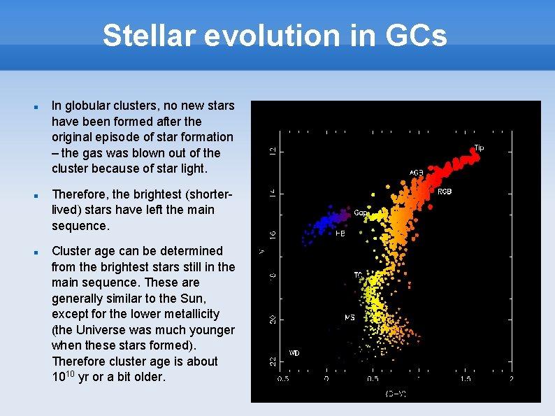 Stellar evolution in GCs In globular clusters, no new stars have been formed after