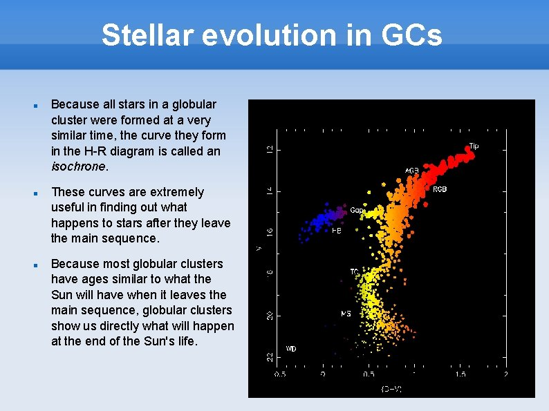 Stellar evolution in GCs Because all stars in a globular cluster were formed at