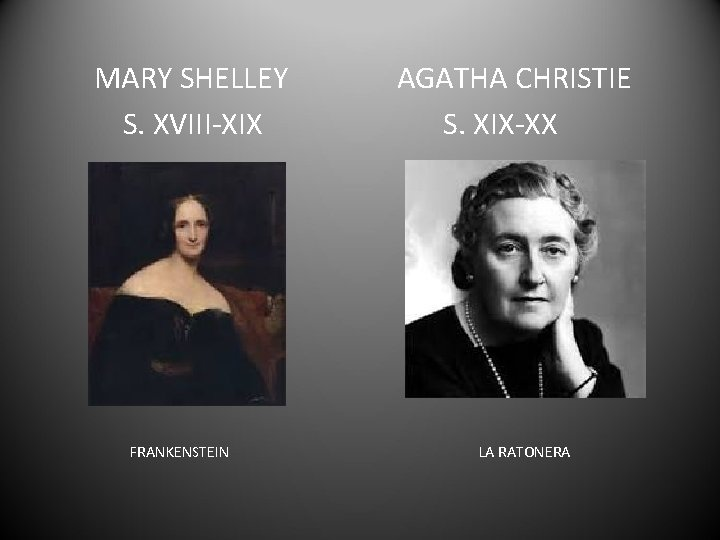 MARY SHELLEY S. XVIII-XIX FRANKENSTEIN AGATHA CHRISTIE S. XIX-XX LA RATONERA