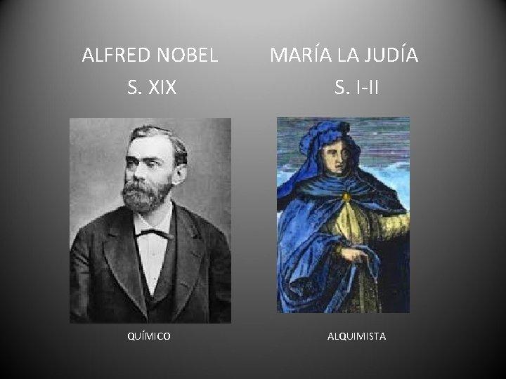 ALFRED NOBEL S. XIX QUÍMICO MARÍA LA JUDÍA S. I-II ALQUIMISTA