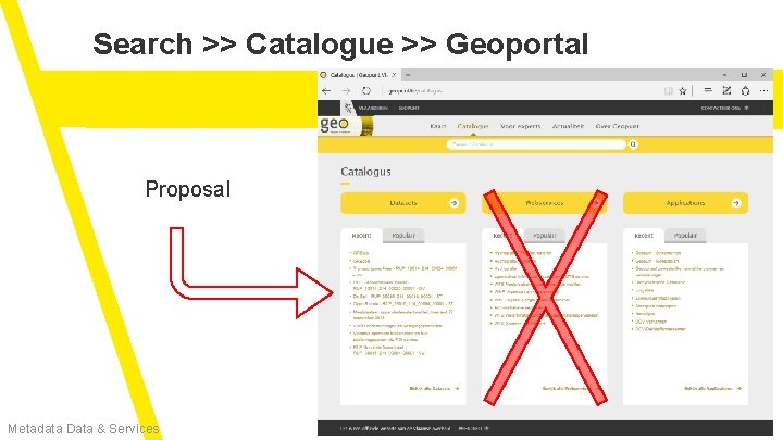 Search >> Catalogue >> Geoportal Proposal Metadata Data & Services