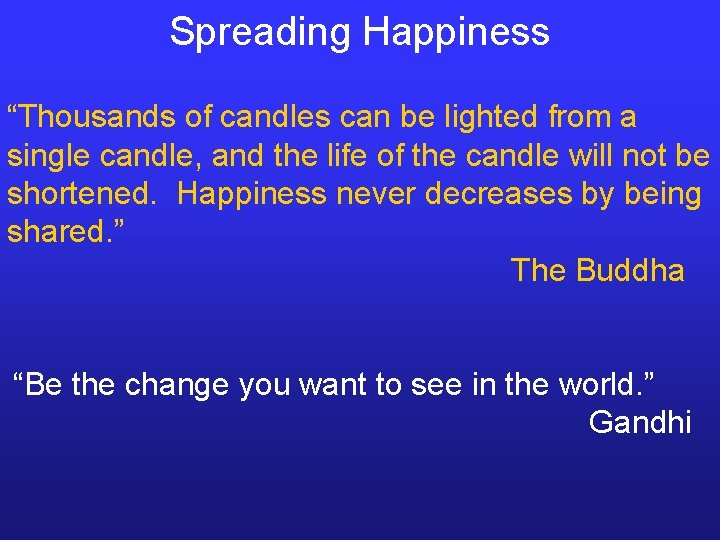 "Spreading Happiness ""Thousands of candles can be lighted from a single candle, and the"