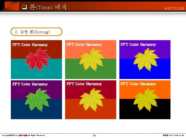 q 톤(Tone) 배색 ARTCOM 2. 강한 톤(Strong) PPT Color Harmony PPT Color Harmony Copyright©