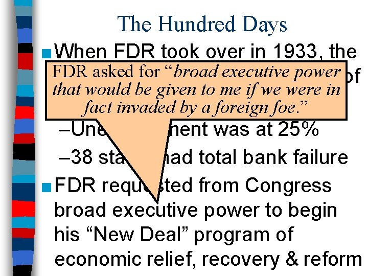 """The Hundred Days ■ When FDR took over in 1933, the FDR for """"broad"""