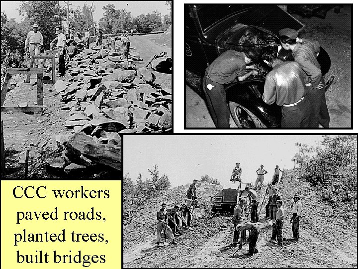 CCC workers paved roads, planted trees, built bridges