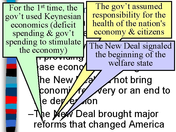 The gov't assumed For the 1 st time, the Conclusions gov't used Keynesian responsibility