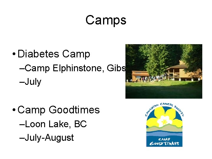Camps • Diabetes Camp –Camp Elphinstone, Gibsons, BC –July • Camp Goodtimes –Loon Lake,