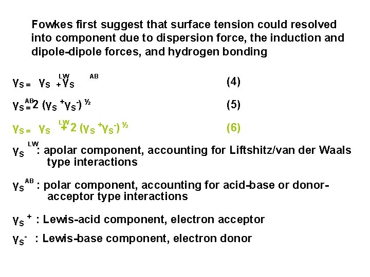 Fowkes first suggest that surface tension could resolved into component due to dispersion force,