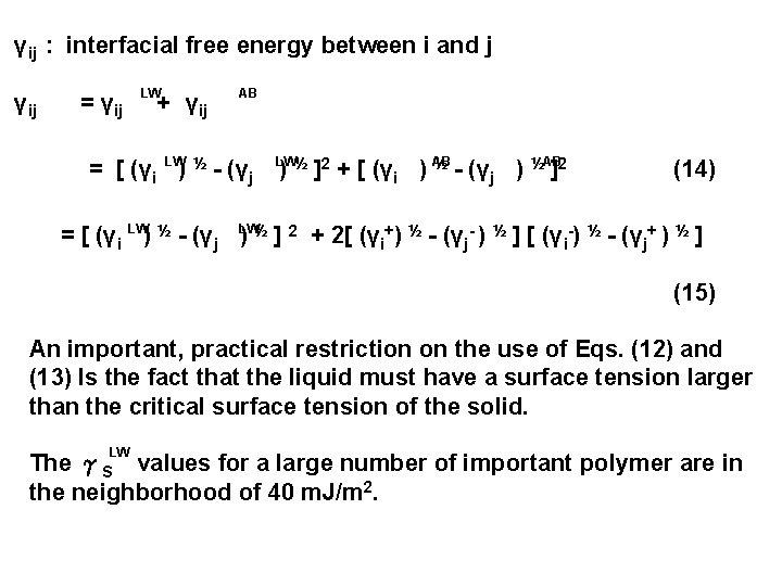 γij : interfacial free energy between i and j γij = γij LW +