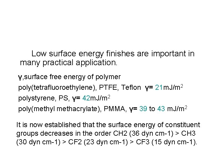 Low surface energy finishes are important in many practical application. γ, surface free energy