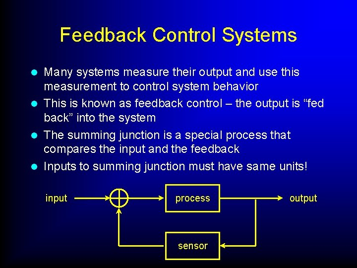 Feedback Control Systems Many systems measure their output and use this measurement to control