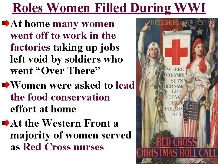 Roles Women Filled During WWI At home many women went off to work in