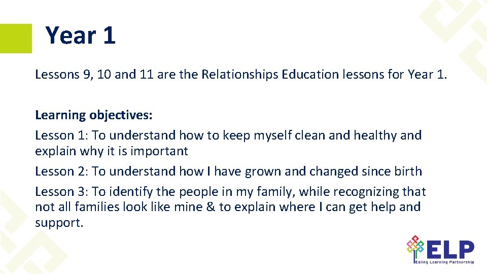 Year 1 Lessons 9, 10 and 11 are the Relationships Education lessons for Year