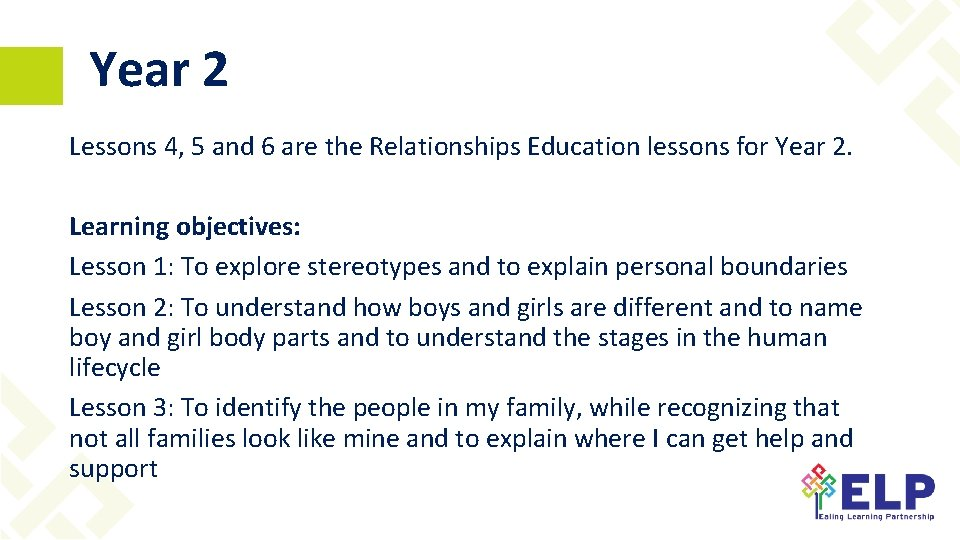 Year 2 Lessons 4, 5 and 6 are the Relationships Education lessons for Year