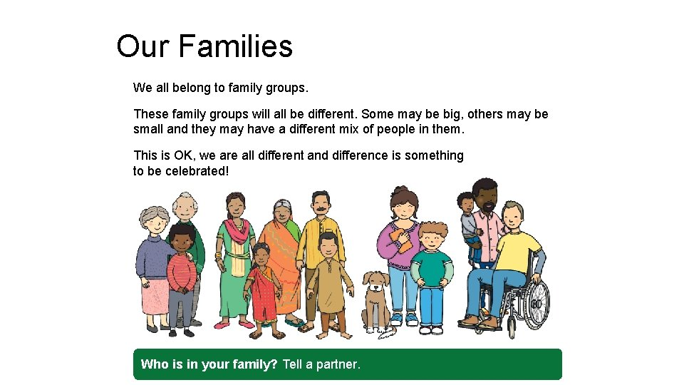 Our Families We all belong to family groups. These family groups will all be