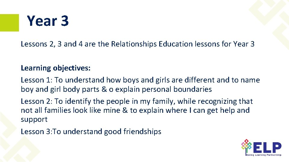 Year 3 Lessons 2, 3 and 4 are the Relationships Education lessons for Year