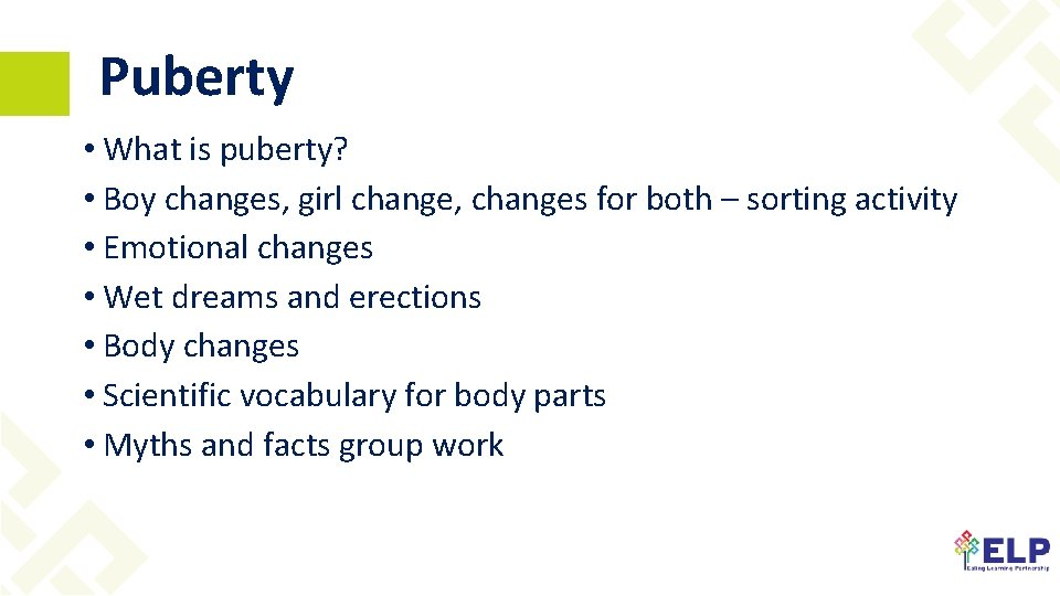 Puberty • What is puberty? • Boy changes, girl change, changes for both –