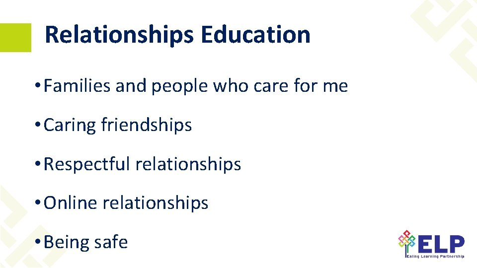 Relationships Education • Families and people who care for me • Caring friendships •