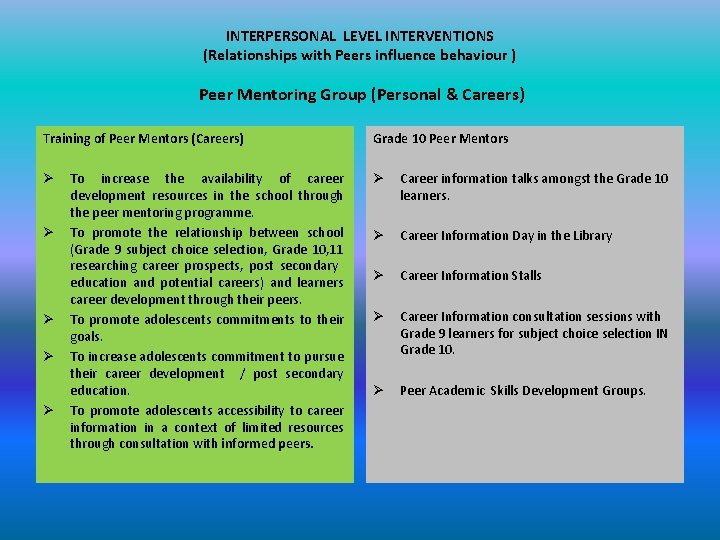 INTERPERSONAL LEVEL INTERVENTIONS (Relationships with Peers influence behaviour ) Peer Mentoring Group (Personal &