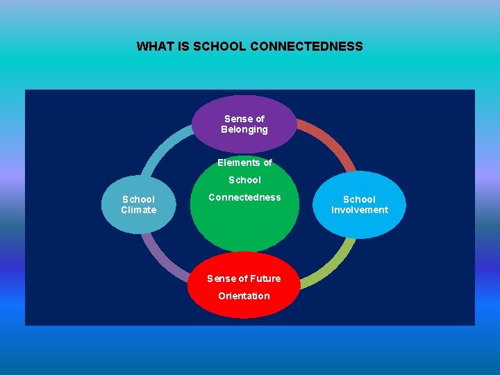 WHAT IS SCHOOL CONNECTEDNESS Sense of Belonging Elements of School Climate Connectedness Sense of