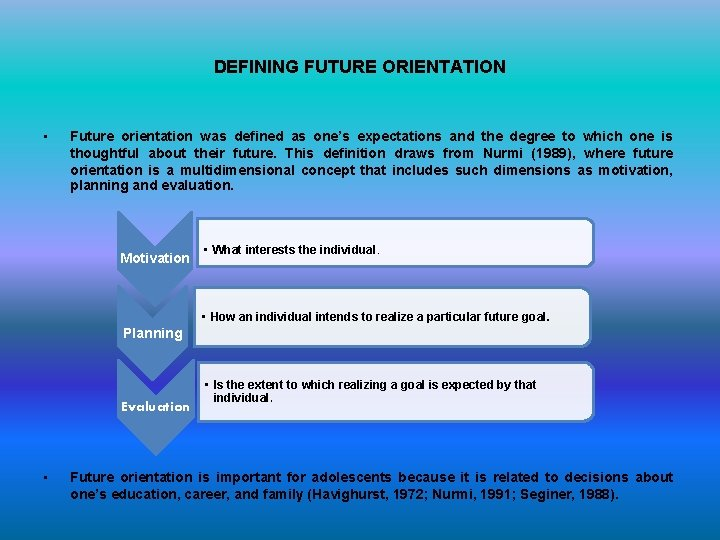 DEFINING FUTURE ORIENTATION • Future orientation was defined as one's expectations and the degree