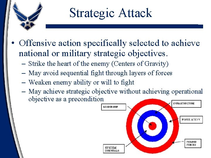 Strategic Attack • Offensive action specifically selected to achieve national or military strategic objectives.