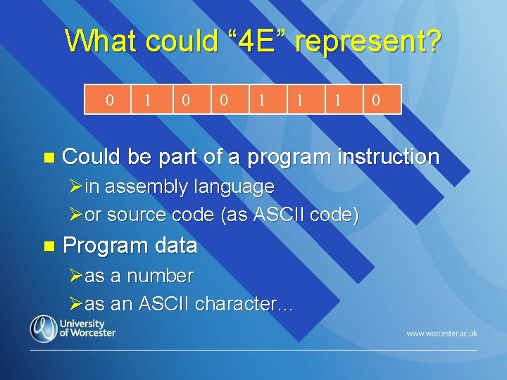 """What could """" 4 E"""" represent? 0 n 1 0 0 1 1 1"""