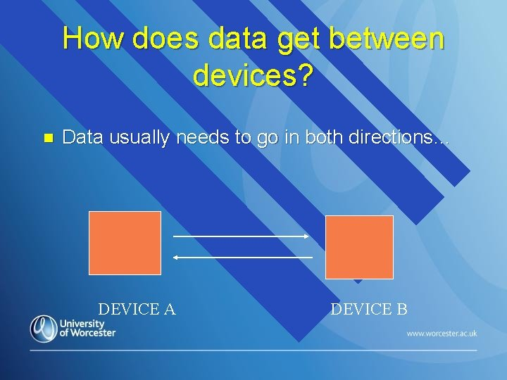 How does data get between devices? n Data usually needs to go in both