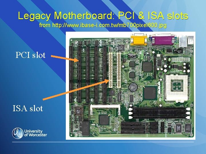 Legacy Motherboard: PCI & ISA slots from http: //www. ibase-i. com. tw/mb 700 pixel