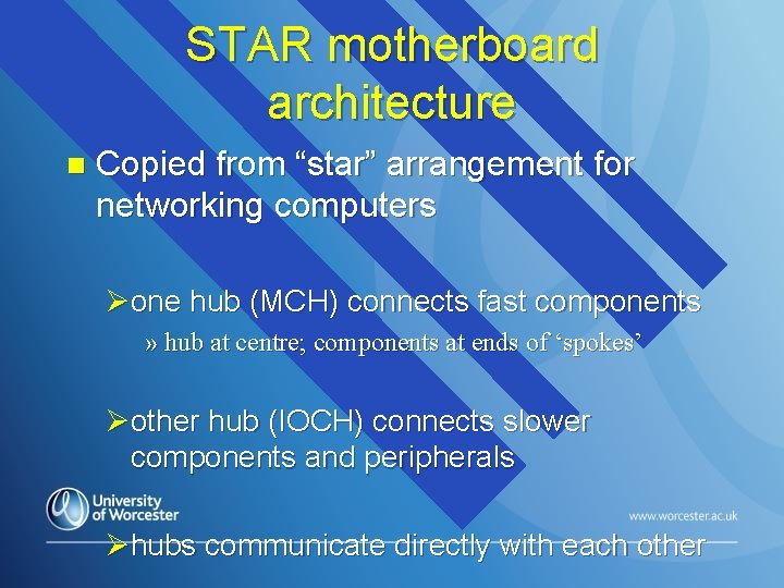 """STAR motherboard architecture n Copied from """"star"""" arrangement for networking computers Øone hub (MCH)"""