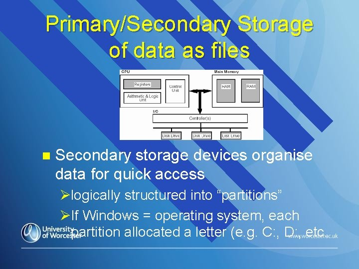 Primary/Secondary Storage of data as files n Secondary storage devices organise data for quick