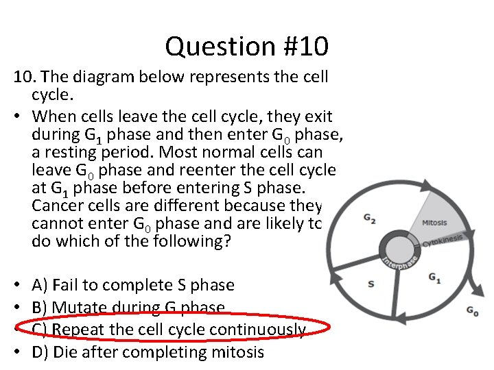 Question #10 10. The diagram below represents the cell cycle. • When cells leave