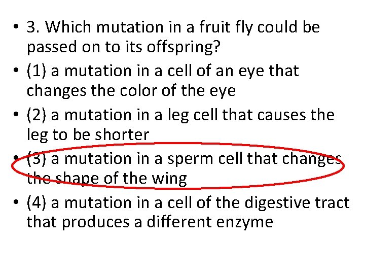 • 3. Which mutation in a fruit fly could be passed on to