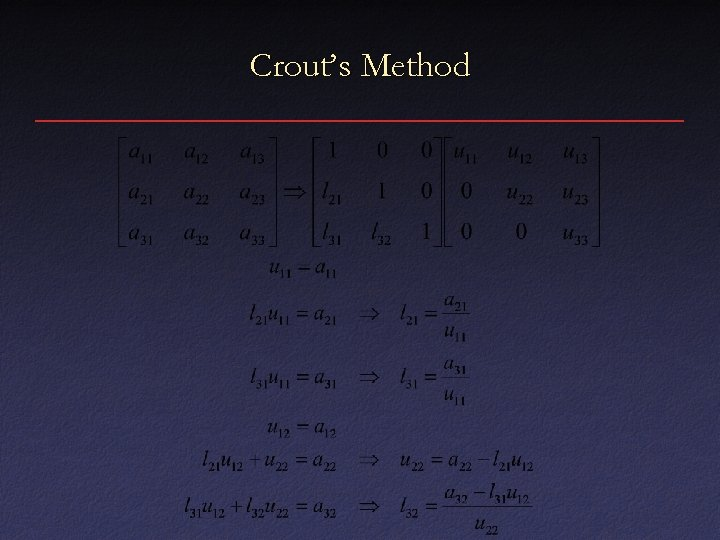 Crout's Method