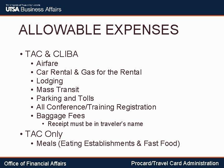 ALLOWABLE EXPENSES • TAC & CLIBA • • Airfare Car Rental & Gas for