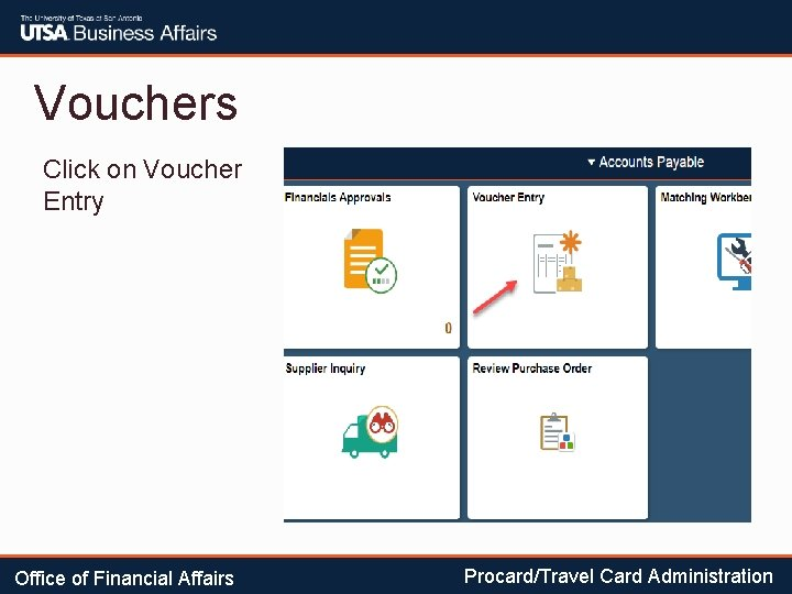 Vouchers Click on Voucher Entry Office of Financial Affairs Procard/Travel Card Administration