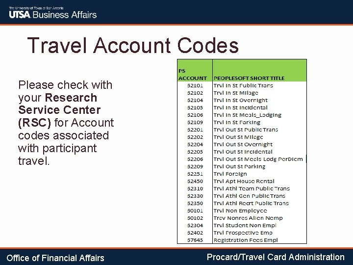 Travel Account Codes Please check with your Research Service Center (RSC) for Account codes