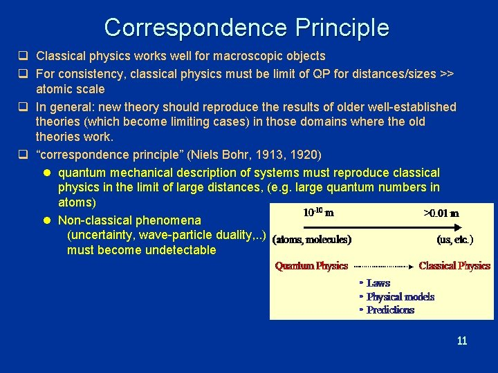 Correspondence Principle q Classical physics works well for macroscopic objects q For consistency, classical