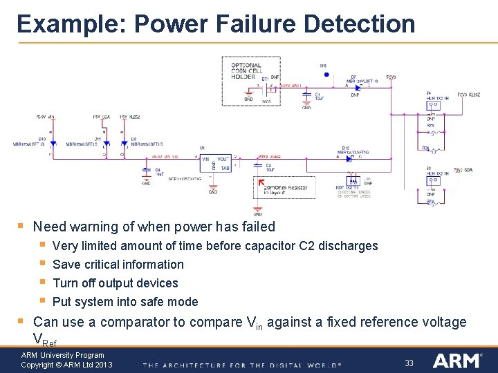 Example: Power Failure Detection § Need warning of when power has failed § §