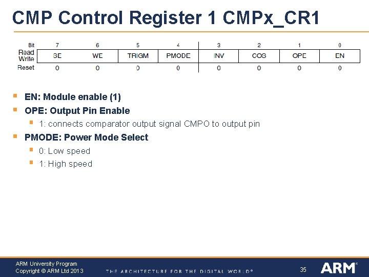 CMP Control Register 1 CMPx_CR 1 § § EN: Module enable (1) OPE: Output