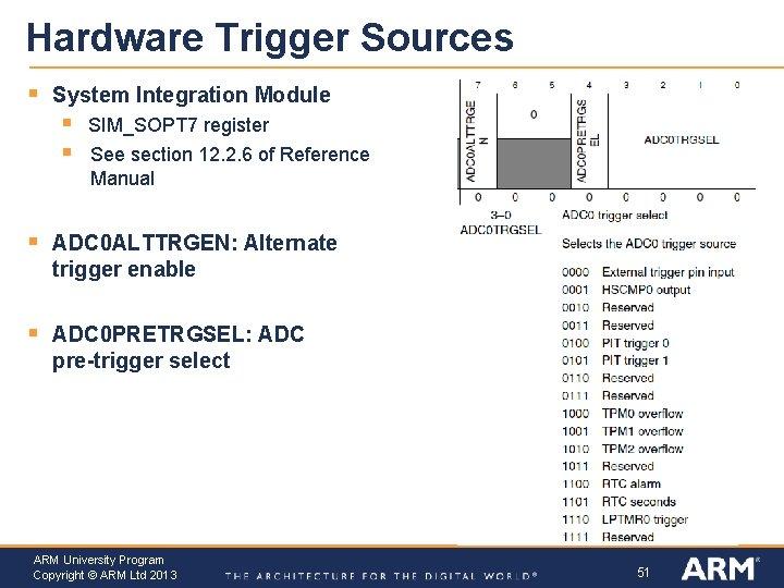 Hardware Trigger Sources § System Integration Module § § SIM_SOPT 7 register See section