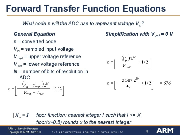 Forward Transfer Function Equations What code n will the ADC use to represent voltage