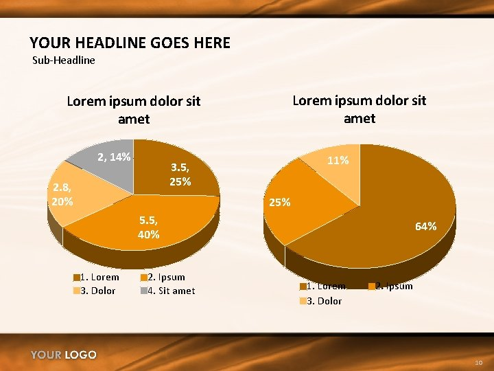 YOUR HEADLINE GOES HERE Sub-Headline Lorem ipsum dolor sit amet 2, 14% 11% 3.