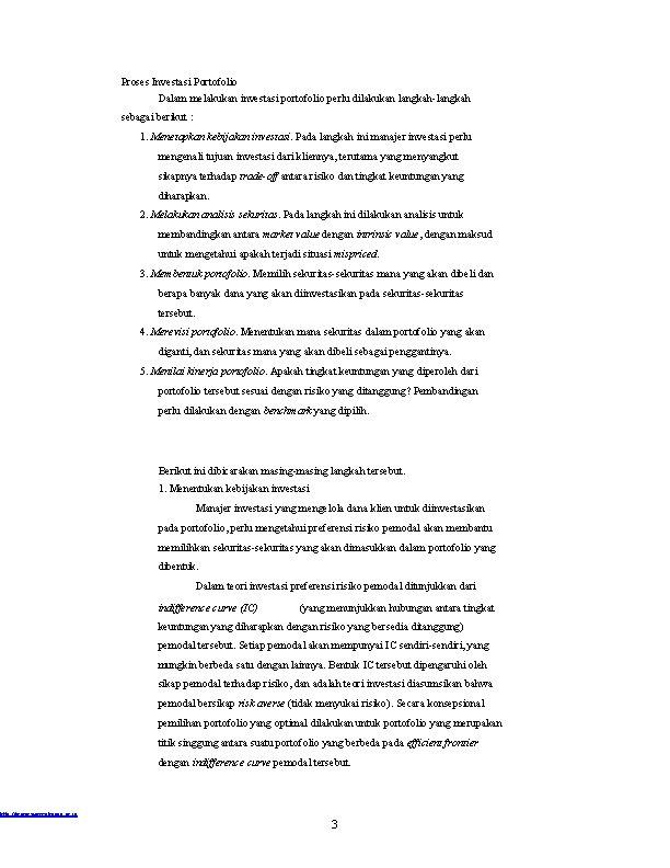 http: //www. mercubuana. ac. id Proses Investasi Portofolio Dalam melakukan investasi portofolio perlu dilakukan