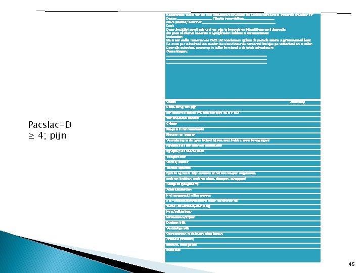 Nederlandse versie van de Pain Assessment Checklist for Seniors with Severe Dementia (Pacslac-D)* Datum:
