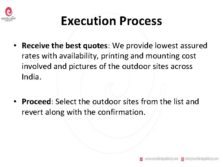 Execution Process • Receive the best quotes: We provide lowest assured rates with availability,